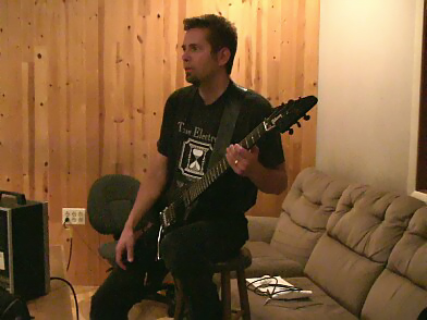 M.E. with his 2001 Black Gothic Flying V tracking on Day Two of recording for Overlorde's RETURN OF THE SNOW GIANT.